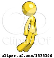 Yellow Design Mascot Woman Floating Through Air Right