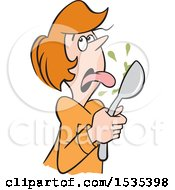 Clipart Of A Cartoon White Woman Licking Something Bad From A Spoon Royalty Free Vector Illustration