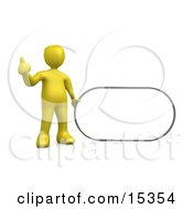 Yellow Figure Giving The Thumbs Up While Standing By A Blank Sign Which Is Ready For An Advertisement