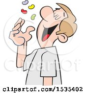 Clipart Of A Cartoon White Man Tossing Jelly Beans Into His Mouth Royalty Free Vector Illustration