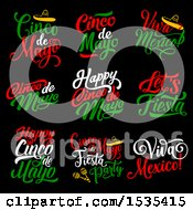Green Red And White Cinco De Mayo Text Designs On Black
