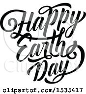 Clipart Of A Black And White Happy Earth Day Text Design Royalty Free Vector Illustration