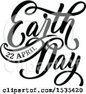 Clipart Of A Black And White Earth Day Text Design Royalty Free Vector Illustration