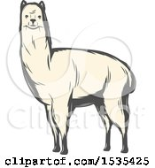 Clipart Of A White Llama In Retro Style Royalty Free Vector Illustration by Vector Tradition SM