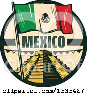 Clipart Of A Retro Styled Cinco De Mayo Design With El Castillo Pyramid And A Mexican Flag Royalty Free Vector Illustration by Vector Tradition SM