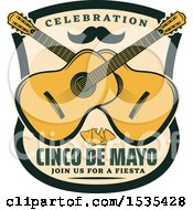 Clipart Of A Retro Styled Cinco De Mayo Design With A Mustache Guitars And Tortilla Chips Royalty Free Vector Illustration by Vector Tradition SM