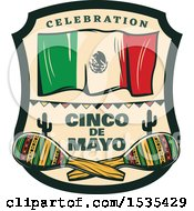 Poster, Art Print Of Retro Styled Cinco De Mayo Design With A Mexican Flag And Maracas