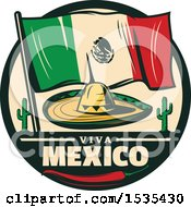 Poster, Art Print Of Retro Styled Cinco De Mayo Design With A Sombrero Mexican Flag Cactus And Pepper
