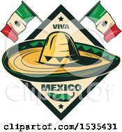 Poster, Art Print Of Retro Styled Cinco De Mayo Design With A Sombrero Jalapeno And Mexican Flags