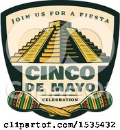 Clipart Of A Retro Styled Cinco De Mayo Design With El Castillo Pyramid And Maracas Royalty Free Vector Illustration by Vector Tradition SM