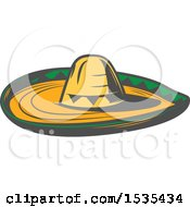 Clipart Of A Sombrero Hat In Retro Style Royalty Free Vector Illustration by Vector Tradition SM