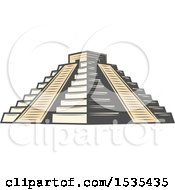 Clipart Of El Castillo Pyramid In Retro Style Royalty Free Vector Illustration by Vector Tradition SM