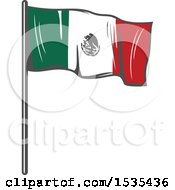 Clipart Of A Mexican Flag In Retro Style Royalty Free Vector Illustration by Vector Tradition SM