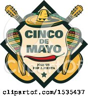 Clipart Of A Retro Styled Cinco De Mayo Design With A Sombrero Pepper Guitars And Maracas Royalty Free Vector Illustration by Vector Tradition SM