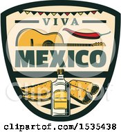 Clipart Of A Retro Styled Cinco De Mayo Viva Mexico Design With A Guitar Pepper Tequila And Food Royalty Free Vector Illustration