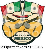 Clipart Of A Retro Styled Cinco De Mayo Design With Mexican Flags Guitars And A Red Pepper Royalty Free Vector Illustration by Vector Tradition SM