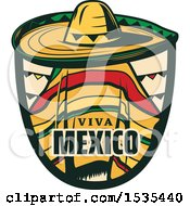 Clipart Of A Retro Styled Cinco De Mayo Viva Mexico Design With A Sombrero And Poncho Royalty Free Vector Illustration by Vector Tradition SM