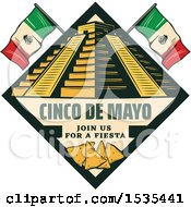Poster, Art Print Of Retro Styled Cinco De Mayo Design With El Castillo Pyramid Flags And Tortilla Chips