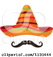 Clipart Of A Sombrero Hat And Mustache Royalty Free Vector Illustration by Vector Tradition SM
