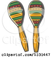 Clipart Of Maracas In Retro Style Royalty Free Vector Illustration by Vector Tradition SM