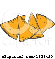 Clipart Of Tortilla Chips In Retro Style Royalty Free Vector Illustration