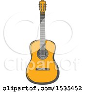 Clipart Of A Guitar In Retro Style Royalty Free Vector Illustration
