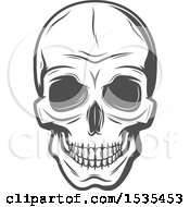Clipart Of A Grayscale Human Skull In Retro Style Royalty Free Vector Illustration