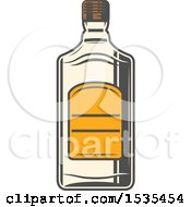 Clipart Of A Tequila Bottle In Retro Style Royalty Free Vector Illustration
