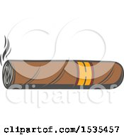 Clipart Of A Cigar In Retro Style Royalty Free Vector Illustration