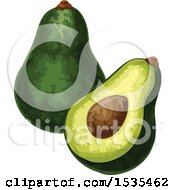 Halved And Whole Avocado
