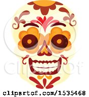 Clipart Of A Sugar Skull Royalty Free Vector Illustration by Vector Tradition SM