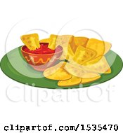 Clipart Of Salsa And Tortilla Chips Royalty Free Vector Illustration