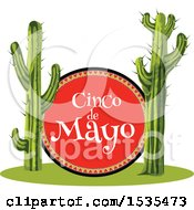 Clipart Of A Cinco De Mayo Sign And Saguaro Cacti Royalty Free Vector Illustration
