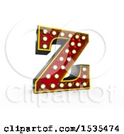 Clipart Of A 3d Illuminated Theater Styled Vintage Letter Z On A White Background Royalty Free Illustration