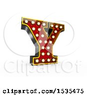 Clipart Of A 3d Illuminated Theater Styled Vintage Letter Y On A White Background Royalty Free Illustration