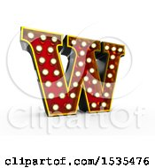 Clipart of a 3d Illuminated Theater Styled Vintage Letter W, on a White Background - Royalty Free Illustration by stockillustrations #COLLC1535476-0101