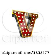 3d Illuminated Theater Styled Vintage Letter V On A White Background