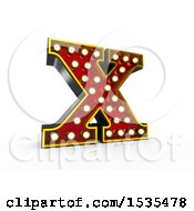 3d Illuminated Theater Styled Vintage Letter X On A White Background