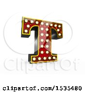 Clipart Of A 3d Illuminated Theater Styled Vintage Letter T On A White Background Royalty Free Illustration