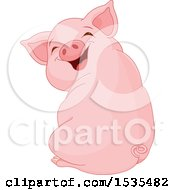 Clipart Of A Cute Laughing Piglet Sitting And Looking Back Royalty Free Vector Illustration by Pushkin