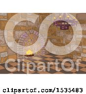 Clipart Of A Medieval Castle Interior With A Chandelier And Fireplace Royalty Free Vector Illustration