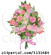 Clipart Of A Bouquet Of Pink Roses Royalty Free Vector Illustration