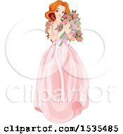 Red Haired Young Woman Holding A Bouquet Of Roses