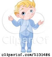 Clipart Of A Blue Eyed Blond Haired Baby Boy Standing In His Pajamas Royalty Free Vector Illustration