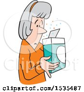 Cartoon Woman Examining The Contents Of A Product Box