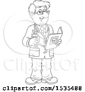 Clipart Of A Black And White Friendly Male Doctor Holding A Folder And Talking Royalty Free Vector Illustration by Alex Bannykh