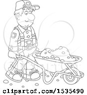 Clipart Of A Black And White Male Worker Pushing A Wheelbarrow Royalty Free Vector Illustration