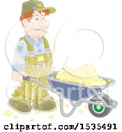 Clipart Of A White Male Worker Pushing A Wheelbarrow Royalty Free Vector Illustration