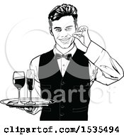 Clipart Of A Male Waiter Holding A Wine Tray Royalty Free Vector Illustration