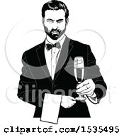 Clipart Of A Male Waiter Holding A Wine Glass Royalty Free Vector Illustration